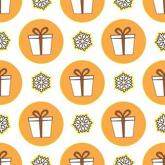Seamless, Pattern, Gifts, Snowflake, Winter, Backdrop
