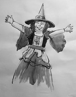 Children, Witch, Halloween, Girl, Play, Fun, Costume