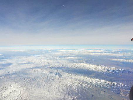 Clouds, Airplane Window, Earth, Mountains, Aerial View