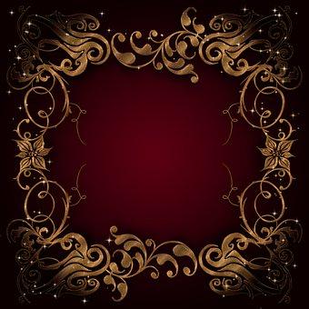Background, Golden, Shiny, Frame, Dark, Red, Pattern