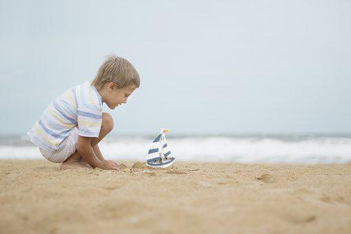 Boy, Toy Boat, Beach, Sand, Coast, Seashore, Play, Kid