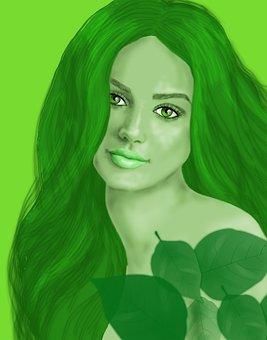 Woman, Beauty, Green, Portrait, Face, Girl, Model