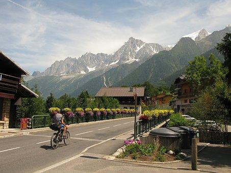 Bicycle, Bridge, Mountains, Alps, Flowers, Summer