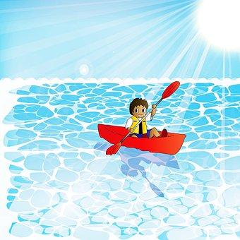 Boy, Canoe, Sea, Rowing, Sun, Sunlight, Sun Rays, Boat