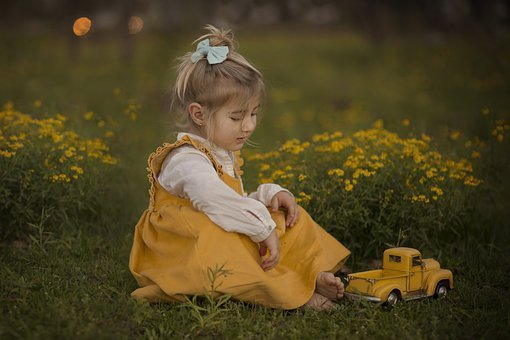 Girl, Kid, Play, Car, Lawn, Yellow, Child, Young