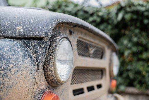 Car, Old Car, Headlamp, Headlight, Muddy, Dirty