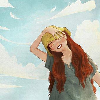 Girl, Happy, Painting, Woman, Cheerful, Joyful, Smile