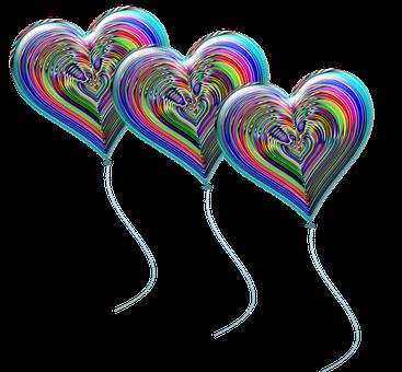 Hearts, Balloons, Colorful Balloons