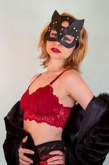 Woman, Mask, Underwear, Fashion, Costume, Blonde, Cat