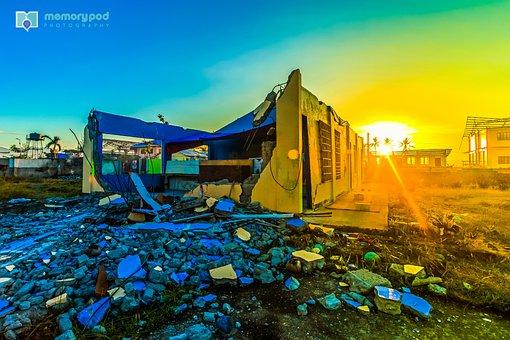 Sunrise, Wreck, Damage, Broken, Disaster, Destruction
