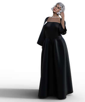 Woman, Dress, Avatar, Style, Gown, Black Dress