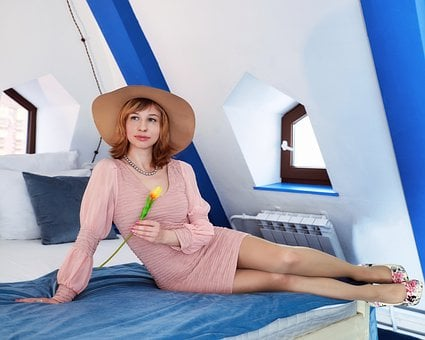 Woman, Hat, Fashion, Bed, Style, Vintage, Retro, Girl