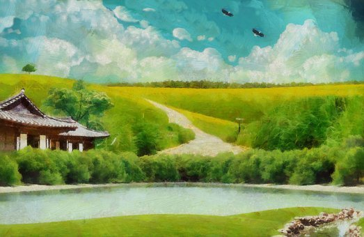 River, Field, Painting, Rural, Countryside, House, Bank