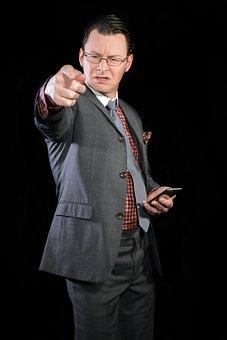 Pointing, Businessman, Aggressive, Finger, Index Finger