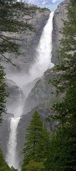 Waterfall, Yosemite, California, Granite, Cliff, Merced