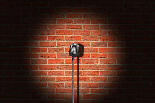 Microphone, Vintage, Brick Wall, Retro, Mic, Stage