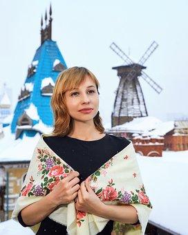 Shawl, Winter, Woman, Russian Style, Girl, Model