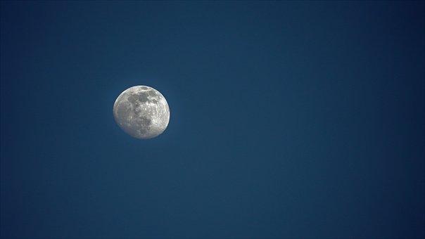 Moon, Waxing Moon, Sky, Night, Night Sky, Dark Blue