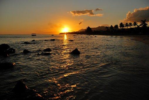 Sunset, Orange, Sky, Ocean, Sea, Reflection, Seascape
