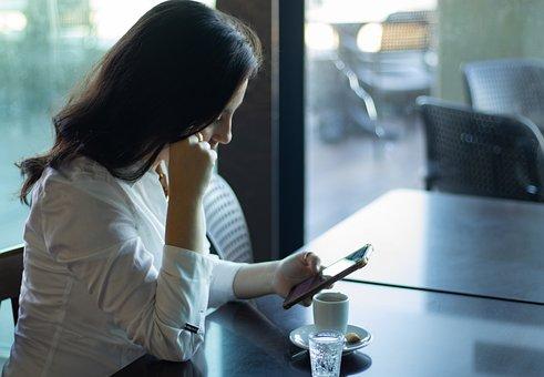 Trabalho, Cafe, Celular, Emocional, Pensativa, Cidade