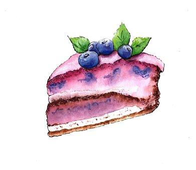 Pie, A Piece Of, Blueberry, Cake, Sweet, Dessert