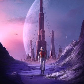 Astronaut, City, Planet, Space, Futuristic, Sci-fi