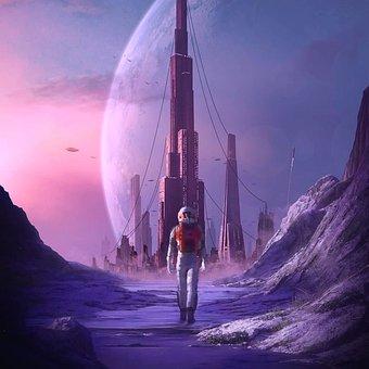 Astronaut, City, Planet, Space, Futuristic, Sci-fi