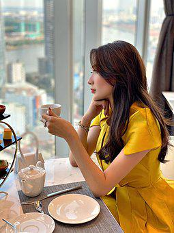 Woman, Drink, Cafe, Beautiful, Pretty, Beverage, Tea
