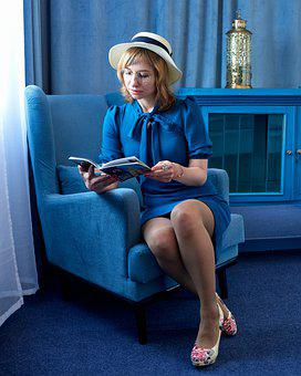 Woman, Reading, Dress, Fashion, Book