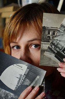 Girl, Postcards, Vintage, Retro, Eyes, Look