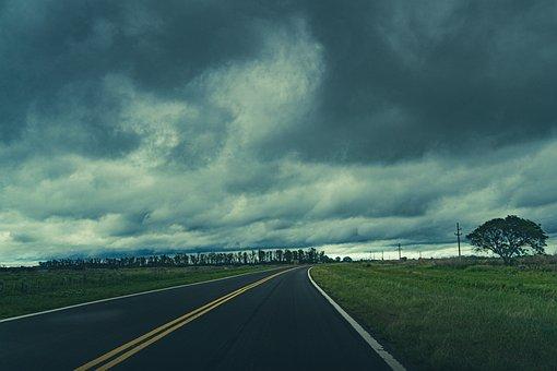 Road, Stormy, Clouds, Sky, Fields, Street, Meadows