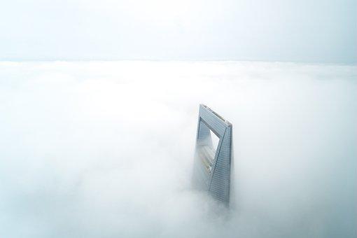 Shanghai, World Financial Center, Clouds, Skyscraper