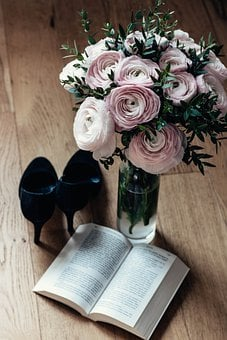Flowers, Book, Shoes, High Heels, Pink Flowers, Vase