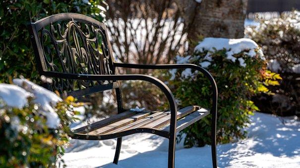 Fleur-de-lis, Bench, Snow, Winter, Nature, Seat, Park