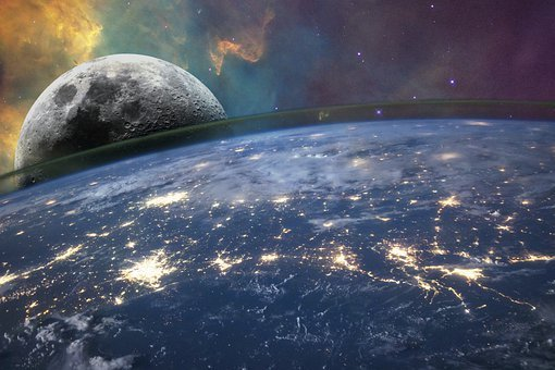 Planet, Moon, Space, Earth, Atmosphere, Cosmos