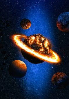 Space, Planets, Fantasy, Fire Ring, Flame Ring, Stars