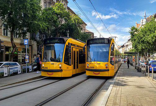 Budapest, Tram, Street, City, Transportation, Urban