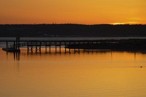 Pier, Lake, Sunset, Silhouette, Jetty, Dock, River