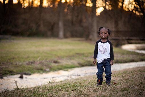 Boy, Child, Stream, Sunset, African American, Toddler