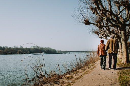 Pair, Walking, Together, Walk, Strolling, Love, Old