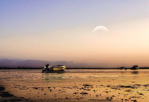 Boat, Sea, Ocean, Moonrise, Crescent Moon, Twilight