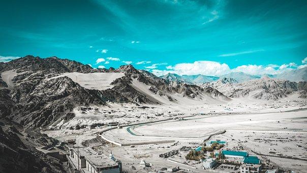 Desert, Buildings, Mountains, Panorama, Valley