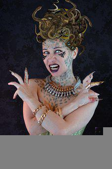 Medusa, Woman, Fantasy, Costume, Cosplay, Gorgon, Myth