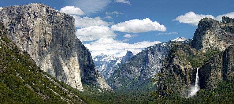 Yosemite, California, Valley, Waterfall, Bridalveil