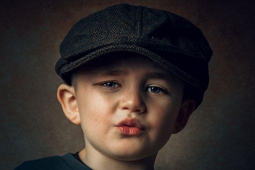 Boy, Portrait, Hat, Child, Pout, Kid, Cute, Face, Young