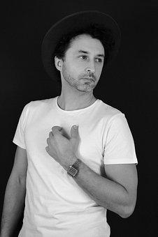 Man, Portrait, White Shirt, Hat, Adult, Posture, Person
