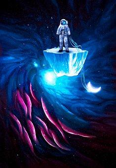 Astronaut, Moon, Cosmos, Cosmonaut, Ice Floe, Island