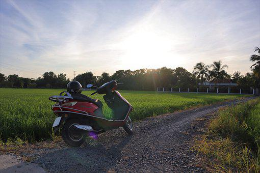 Field, Motorbike, Bike, Road, Outdoors, Nature, Vehicle