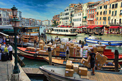 Venice, Packages, Boats, Courier, Cargo, Maritime
