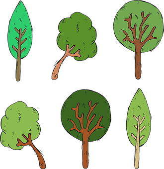 Tree, Foliage, Forest, Cartoon, Nature, Green, Woods
